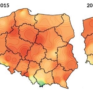 Skumulowane opady dla lat 2014-2016 pomiędzy 1 stycznia i 20 maja